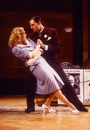Janie Dee and Mark Strong in Johnny on a Spot at the National Theatre, designed by William Dudley, 1994.