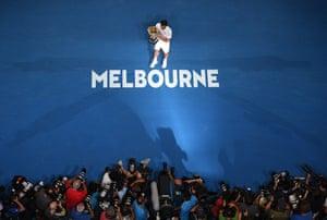 Switzerland's Roger Federer celebrates after beating Croatia's Marin Čilić in the Australian Open final in Melbourne