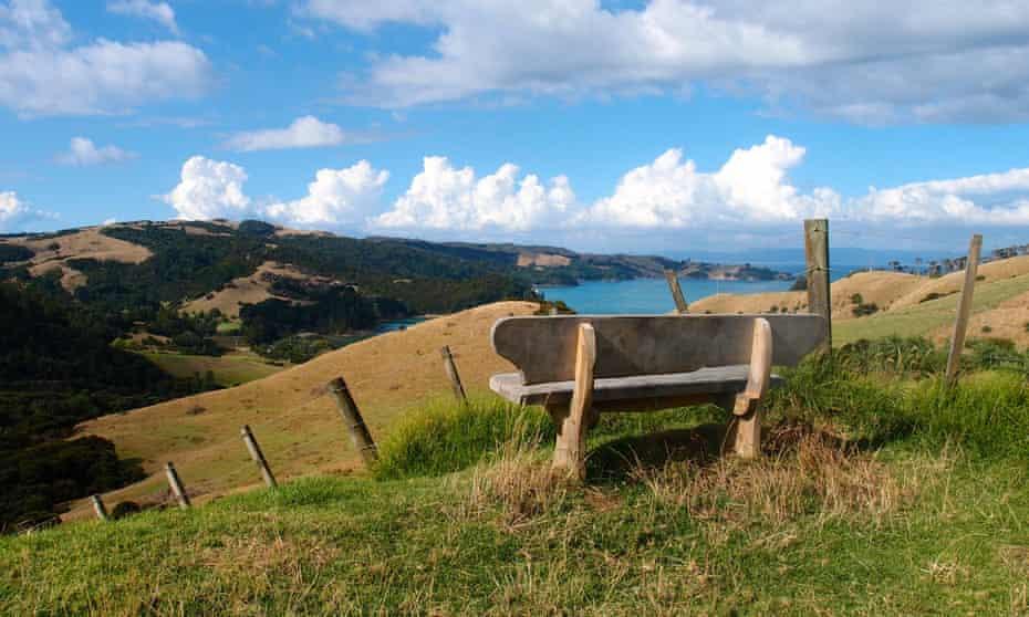 A bench looking towards Man O' War Bay on the eastern side of Waiheke Island, New Zealand.