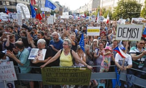 Protesters fill Wenceslas Square in Prague
