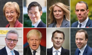 The Conservative leadership contenders: Andrea Leadsom, Rory Stewart, Esther McVey, Dominic Raab, Michael Gove, Boris Johnson, Jeremy Hunt and Matt Hancock have declared their intention to succeed Theresa May.