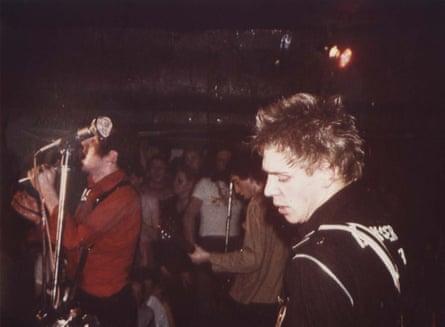 Left to right: Joe strummer (obscured), Mick Jones, Paul Simonon.
