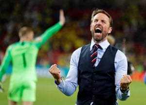 Southgate greets the fans with an emotional double fist-pump. That's exorcised some of his demons from Euro 96.