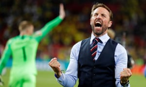 Gareth Southgate lets it all out after England's shootout win over Colombia in the World Cup last-16 match in Moscow.