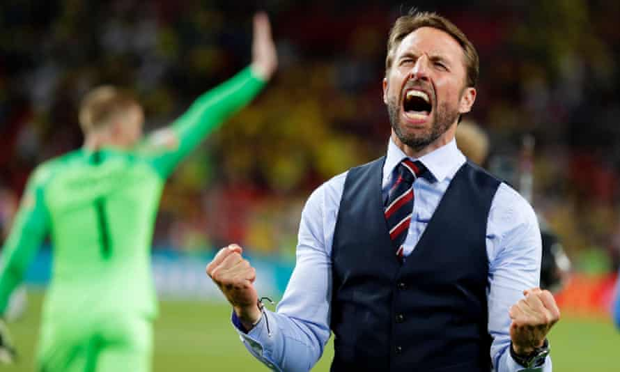 Gareth Southgate celebrates England's win over Colombia in a penalty shootout in the last 16 at the 2018 World Cup.