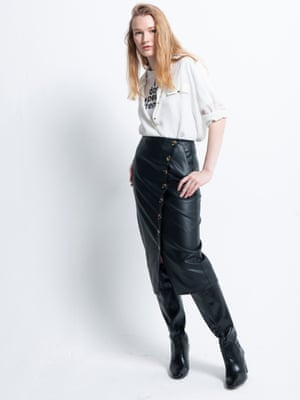 Model wears T-shirt, £25, frenchconnection.com. Shirt, £18, newlook.com. Faux-leather pencil skirt, £39, warehouse.co.uk. Knee-high boots, £49.99, hm.com. Photographs: David Newby for the Guardian. Styling: Melanie Wilkinson. Hair: Christopher Gatt using Evo. Makeup: Delilah Blakeney using Nars Cosmetics. Fashion assistant: Penny Chan. Models: Sylviane and Denise at Mrs Robinson, Bell at IMM, and Ava and Edie at Premier. Velvet footstool, £215, grahamandgreen.com.