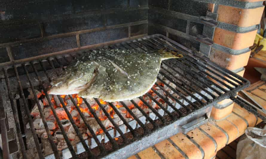 Turbot on an outdoor grill