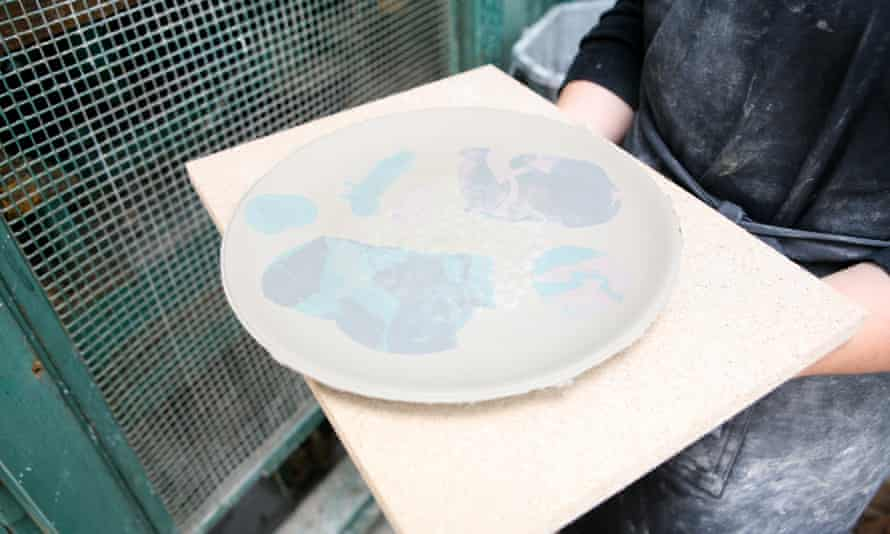 A Splatware plate after pressing and colouring.