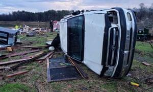 Car overturned after  US storm