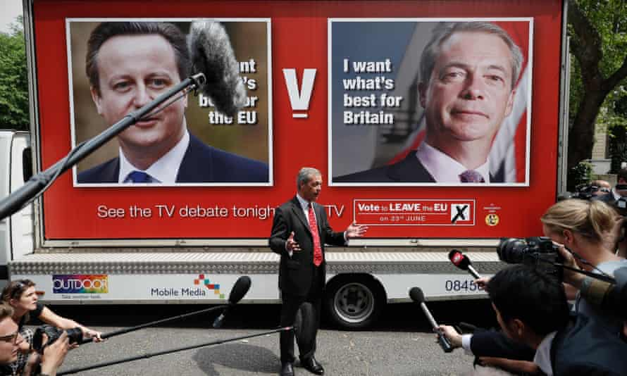 Nigel Farage addresses the media during a poster launch