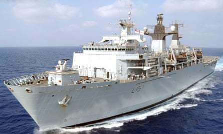 HMS Bulwark, one of the amphibious assault ships which could be taken out of service.
