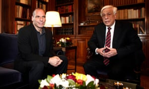 epa04676980 Greek President Prokopis Pavlopoulos (R) talks with Greek Finance Minister Yanis Varoufakis (L) during their meeting in Athens, Greece, 24 March 2015. EPA/ALEXANDROS VLACHOS