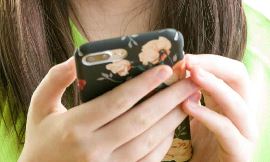 A girl using a smartphone
