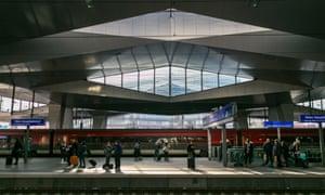 """Vienna's modern, """"slightly vorticist"""" Hauptbahnhof."""
