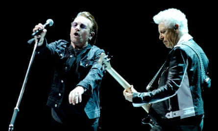 Bono and Adam Clayton at Manchester Arena