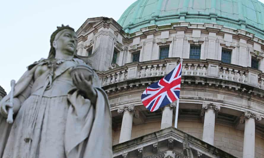 A statue of Queen Victoria at the Belfast City Hall