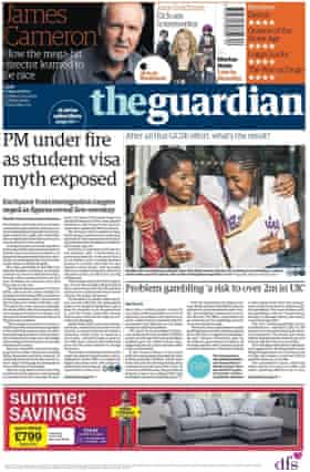 Guardian front page, 25 August 2017