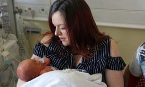 Sherrie Sharp with her newborn son Jaxson