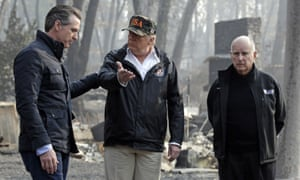 Donald Trump visits Paradise, California, with the governor and governor-elect.
