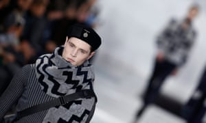 A model presents a creation from the Louis Vuitton autumn/winter menswear collection.