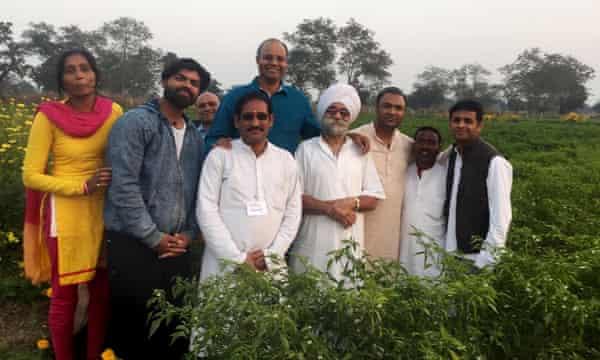 Dr Prabhakar Rao (in a blue short), at his his farm in Bengaluru.