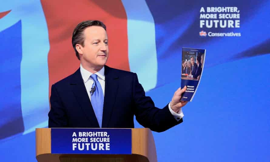 David Cameron in 2015 at the launch of the Conservative party manifesto in Swindon