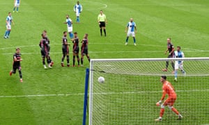 Adam Armstrong of Blackburn scores from a free-kick.
