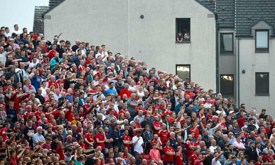 Aberdeen fans pack Pittodrie for the Europa League play-off with Burnley. The club's long-term aim is to move to a new stadium.