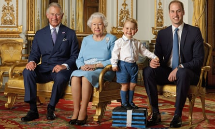 The Queen is flanked by the Prince of Wales, Prince George and the Duke of Cambridge for this portrait to mark her 90th birthday.