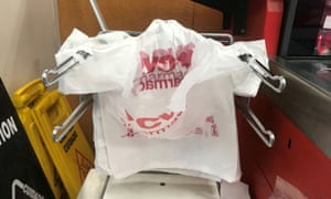 Pharmacy has plastic bags for distribution to customers in advance of ban, in Manhattan.