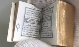 The collection includes a miniature Qur'an printed by David Bryce.