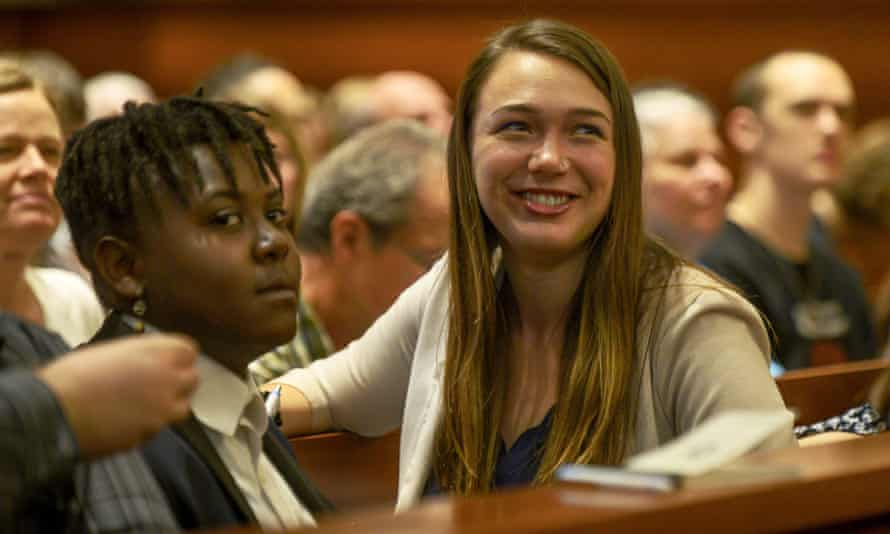 Plaintiffs Kelsey Juliana, right, and Vic Barrett, left, are two of the 21 youth plaintiffs in the climate change lawsuit petitioning a panel of judges to let their case go to trial.