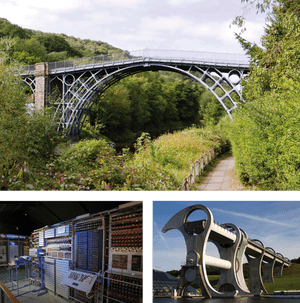 Iron Bridge, the Colussus computer at the National Museum of Computing, and the Falkirk Wheel.