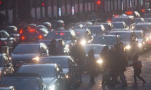 Air pollution and traffic in Brompton Road, Knightsbridge, London.