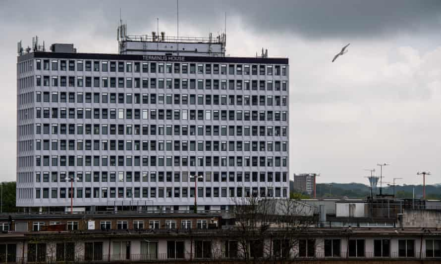 Terminus House, a disused office building in Harlow, Essex, now being used for social housing.