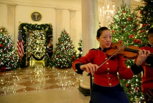 A member of the United States Marine Band plays during the 2018 Christmas press preview