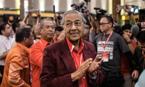 Former Malaysian prime minister Mahathir Mohamad after being elected as the opposition's prime ministerial candidate.