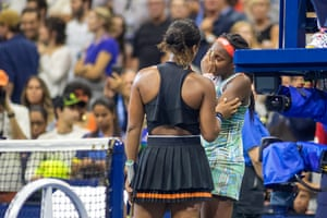 Naomi Osaka consoles Coco Gauff after defeating her at the 2019 US Open.