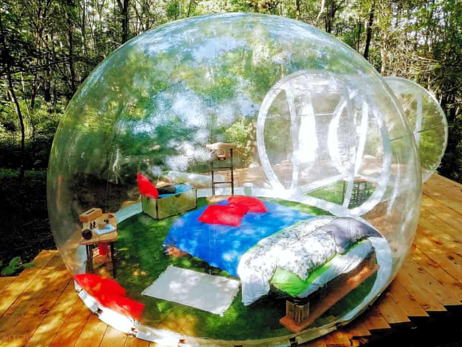 Transparent geodesic dome at Future is Nature