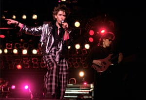 Pretty in pink light: the Psychedelic Furs in full new wave pomp, including spiked hair, biker jacket and shades, in 1986.