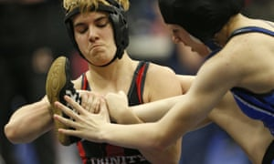 In a 2017 photo, Mack Beggs, left, wrestles Grand Prairie's Kailyn Clay.