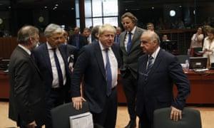 Boris in Brussels: Johnson the diplomat talks to EU ministers.