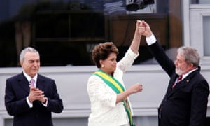 Newly sworn-in Brazilian president Dilma Rousseff, centre, with outgoing president Luiz Inácio Lula da Silva in 2011, in The Edge of Democracy.