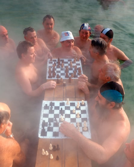 Chess players at the famous hot springs: sadly on this occasion not really hot enough.