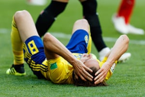 Sweden's Albin Ekdal reacts after missing the best chance of the match.