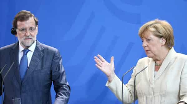 Mariano Rajoy and Angela Merkel in Berlin.
