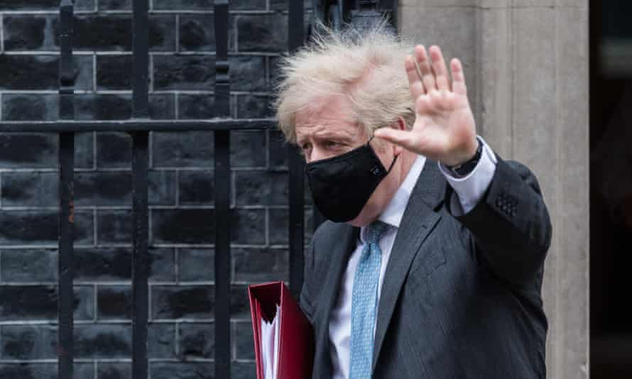 Boris Johnson leaves Downing Street for PMQs, 10 February 2021.