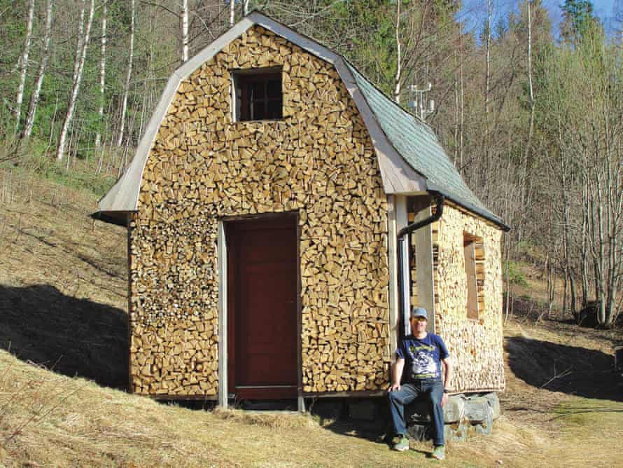 A house covered with firewood.