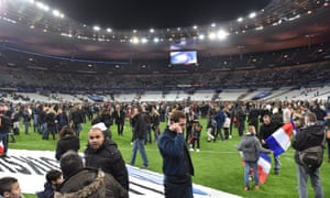 Stade de France: spectators gather on the pitch