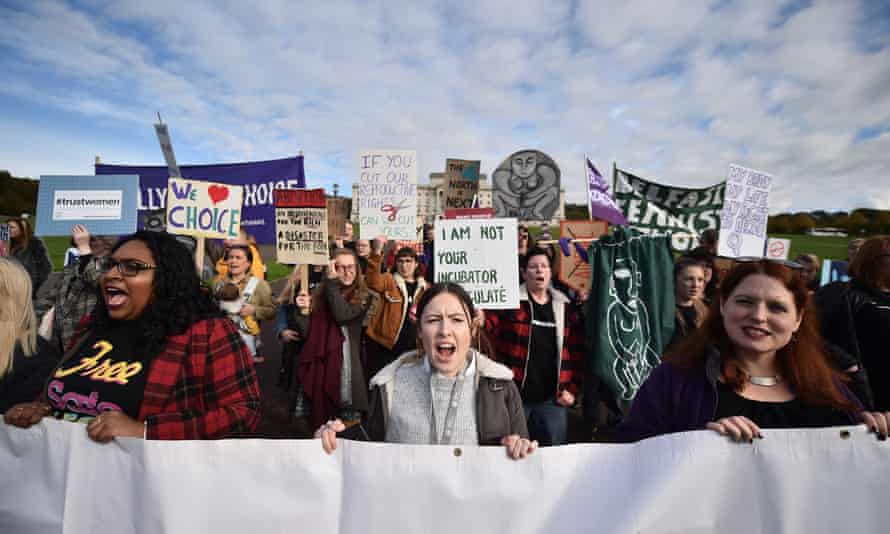Abortion-rights demonstrators march through the streets of Belfast prior to the vote last March.